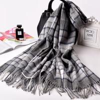 Winter Fall Plaid Wool Blanket Scarf For Women Fashion Tassels Wool Shawls Wraps Ladies Thick Warm Large Sheep Wool Scarves Grey