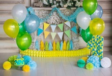 Laeacco Birthday Party Balloon Fireplace Cake Scene Baby Photography Backgrounds Custom Photographic Backdrops For Photo Studio