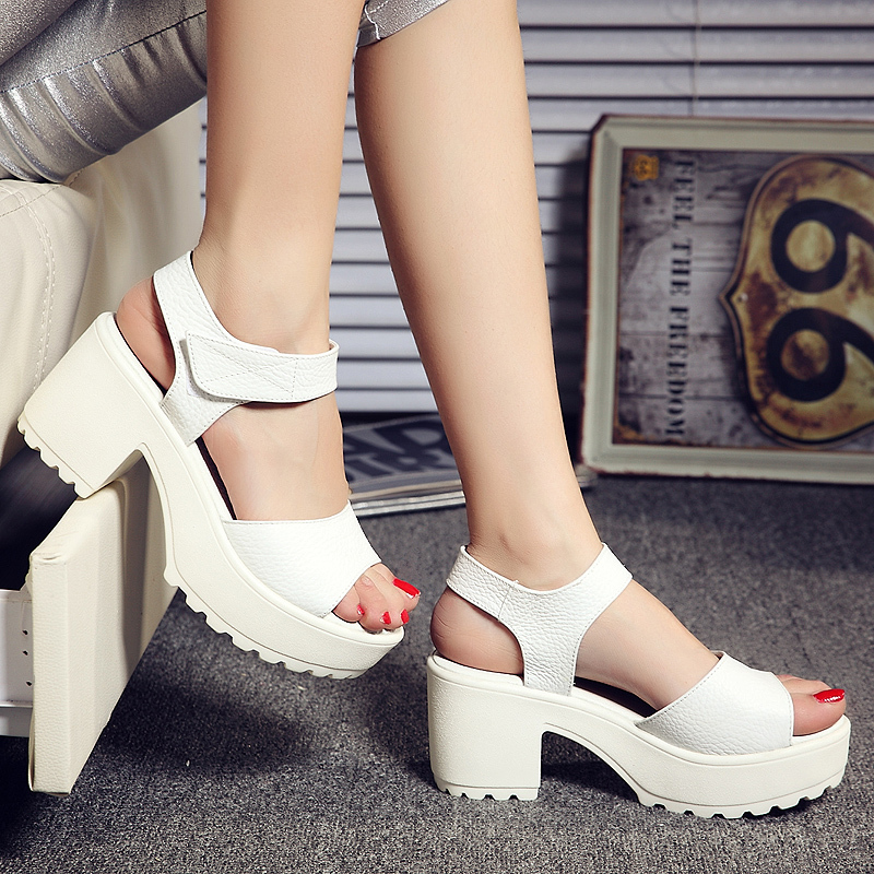 Europe Thick Heels White Cow Leather Women Sandals Shoes