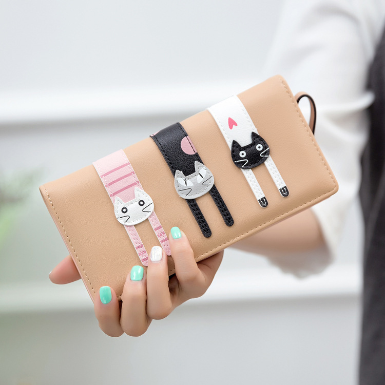 Cartoon cat women purse bag designer wallets famous brand women wallet long money clip dollar price zipper coin pockets  bvlriga women wallets famous brand leather purse wallet designer high quality long zipper money clip large capacity cions bags