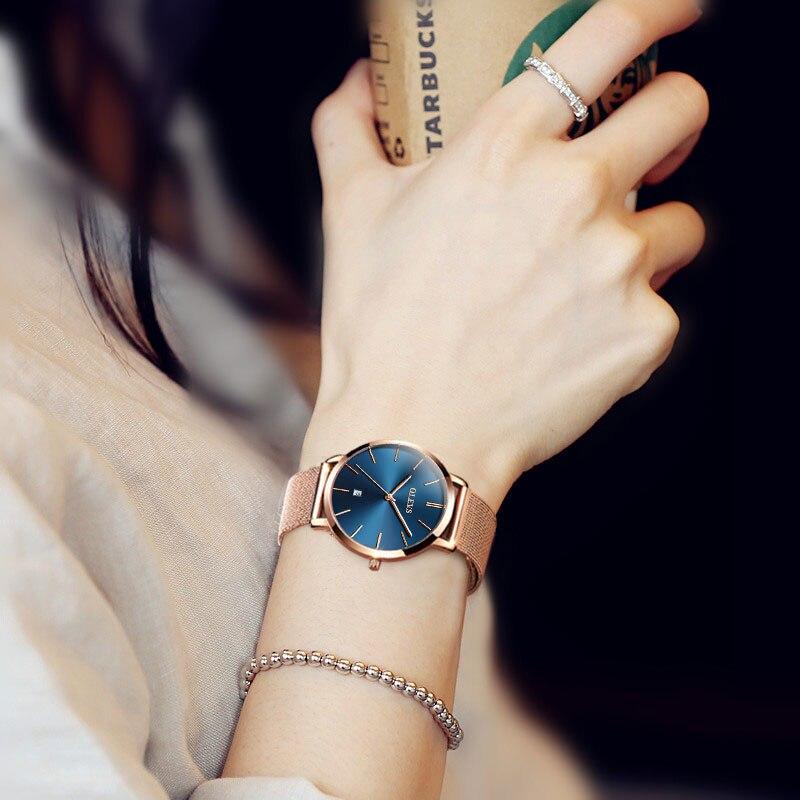 Image 3 - OLEVS, ультра тонкие женские часы, роскошные женские часы, водонепроницаемые, розовое золото, нержавеющая сталь, кварцевые, с календарем, наручные часы, montre femme-in Женские часы from Ручные часы on AliExpress
