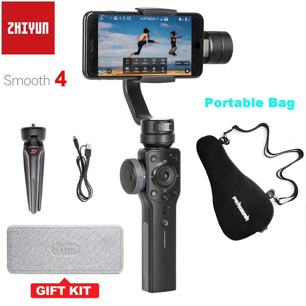 Zhiyun Liscia 4 3-Assi Handheld Smartphone Cardano Stabilizzatore per il iphone X Samsung con il Sacchetto Portatile Caso PK DJI OSMO Mobile 2
