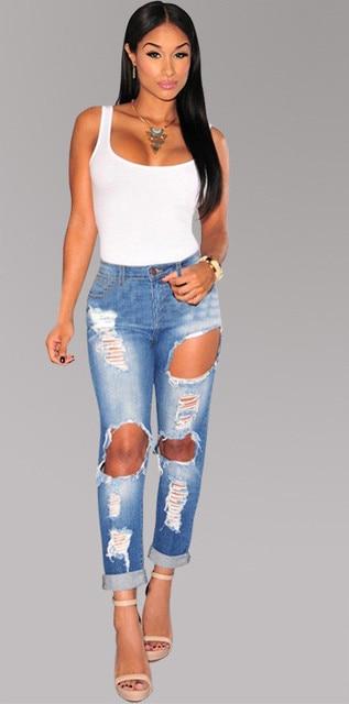 Bule denim midnight women sculpt ripped jeans bottoms up bleach slim big  holes ankle length jeans d2a9f19b5aba