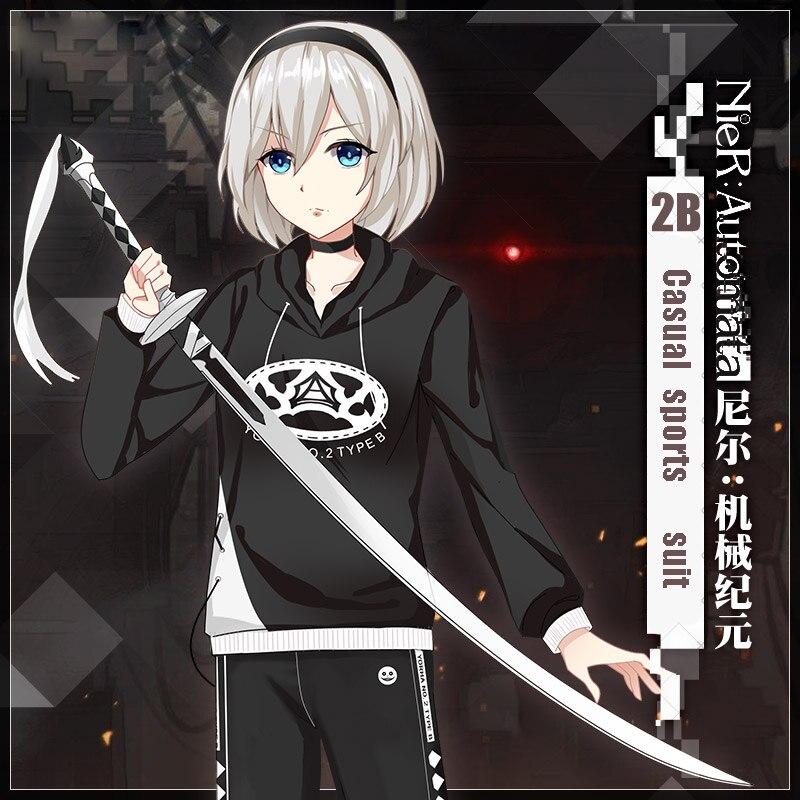 Game NieR Automata YoRHa No 2 Type B Cosplay Costume Black Unisex Hoodie Hooded Sweatshirt Casual