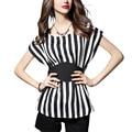 Plus size summer women OL striped O-neck chiffon blouse batwing sleelve bow sashes bodycon elegant peplum waisted blusa shirt