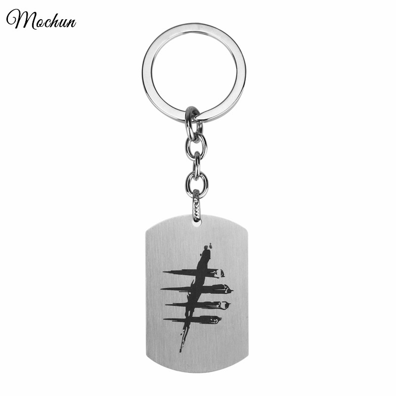 MQCHUN 2017 Hot Game Dead By Daylight Dog Tag Keychain DroidHaunt Keyring Men Key Rings Gift Chaveiro Car Key Chains Jewelry
