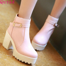 QUTAA 2017 Pink Shoes Woman PU leather Square High Heel Ankle Boots Zipper Women Winter Shoes Ladies Motorcycle Boots Size 34-43