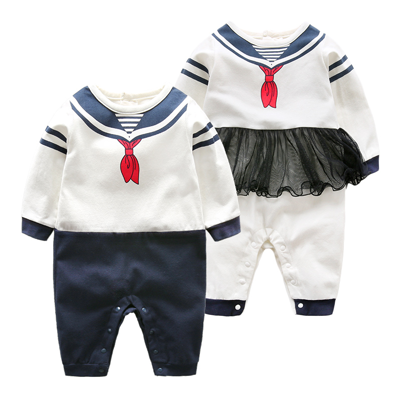 Spring Baby Rompers Cotton Baby Girl Clothes Baby Boy Clothes Navy Style Newborn Baby Clothes Roupas Bebe Infant Jumpsuits