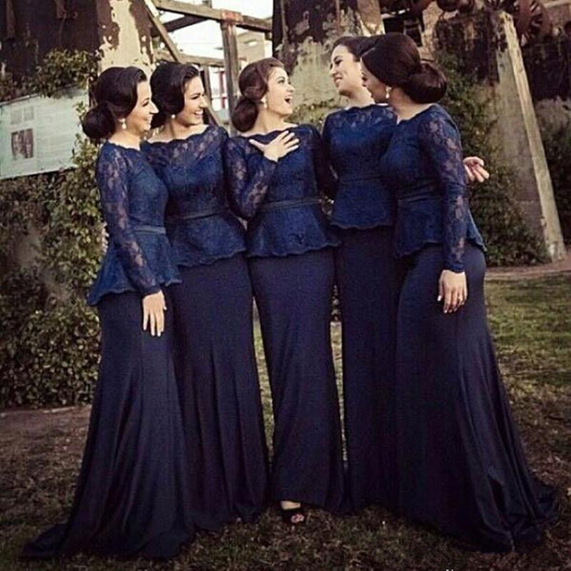 Navy Blue Long vestido longo Long Sleeve Floor Length   Bridesmaid     Dress   2019 Prom   Dress   Wedding Party   Dress