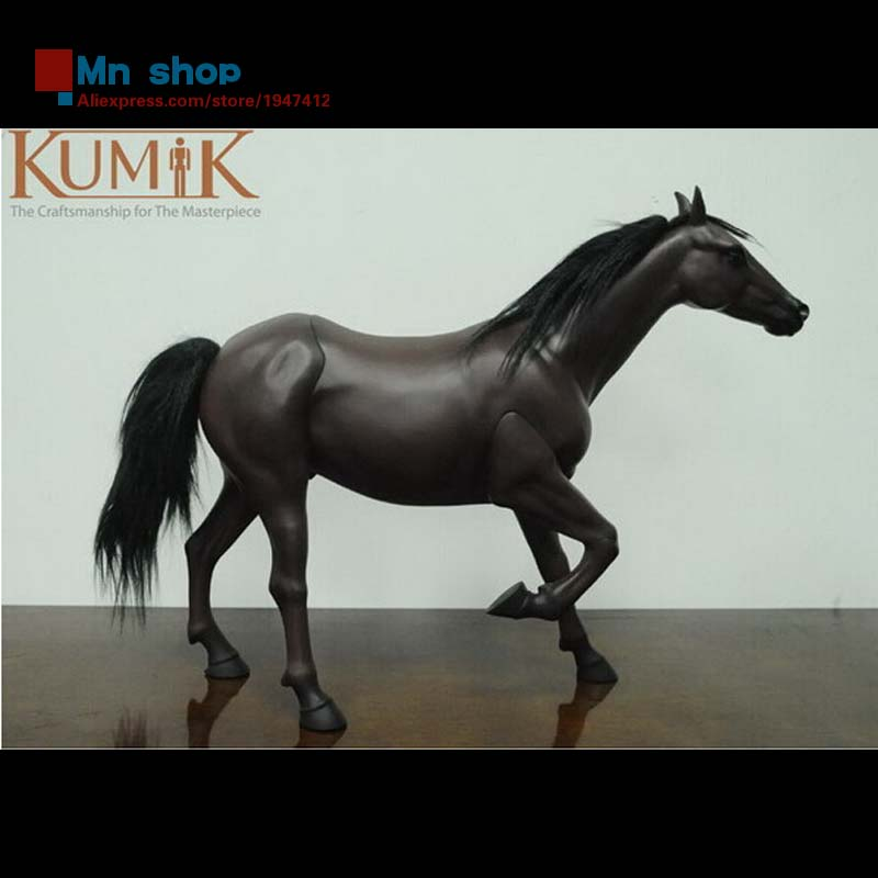 1:6 Figure Accessory Animal Model  Black Horse Pet Horse Figures Toys Collection Gift Free Shipping  KUMIK AC-9 12pcs set children kids toys gift mini figures toys little pet animal cat dog lps action figures