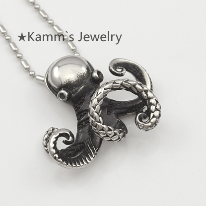 Octopus Mens Animal Rocker Punk Hit hop New Stainless Steel Pendant Necklace Fashion Hea ...