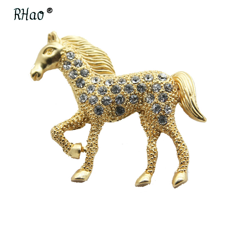 RHao Vivid Crystal Horse Brooches for Women Men clothes jewelry buckles hats clips Broach Kids Animal Brooch Collar Scarf pins