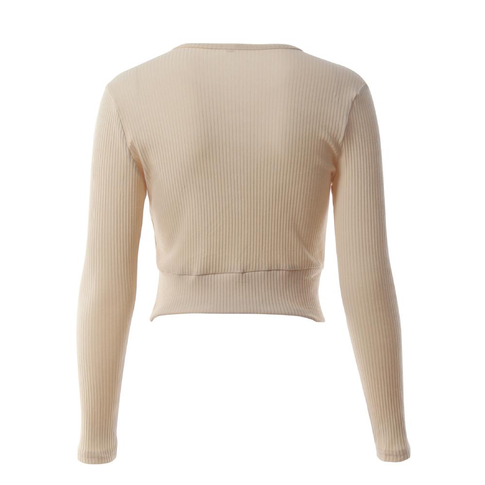 Nadafair Long Sleeve Laced Up Criss Cross Short T Shirt White Black Grey Khaki Casual Women Crop Top 7