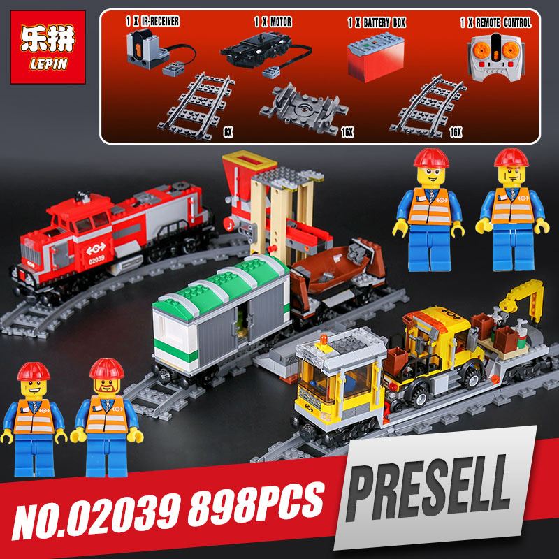 DHL LEPIN 02039 City Series Red Cargo Train Set Children Building Blocks Brick Educational Children Toys Model legoing 3677 legoing chaos warriors caves 70596 ninja series 1307 building blcok set brick compatible 10530 toys for children gift
