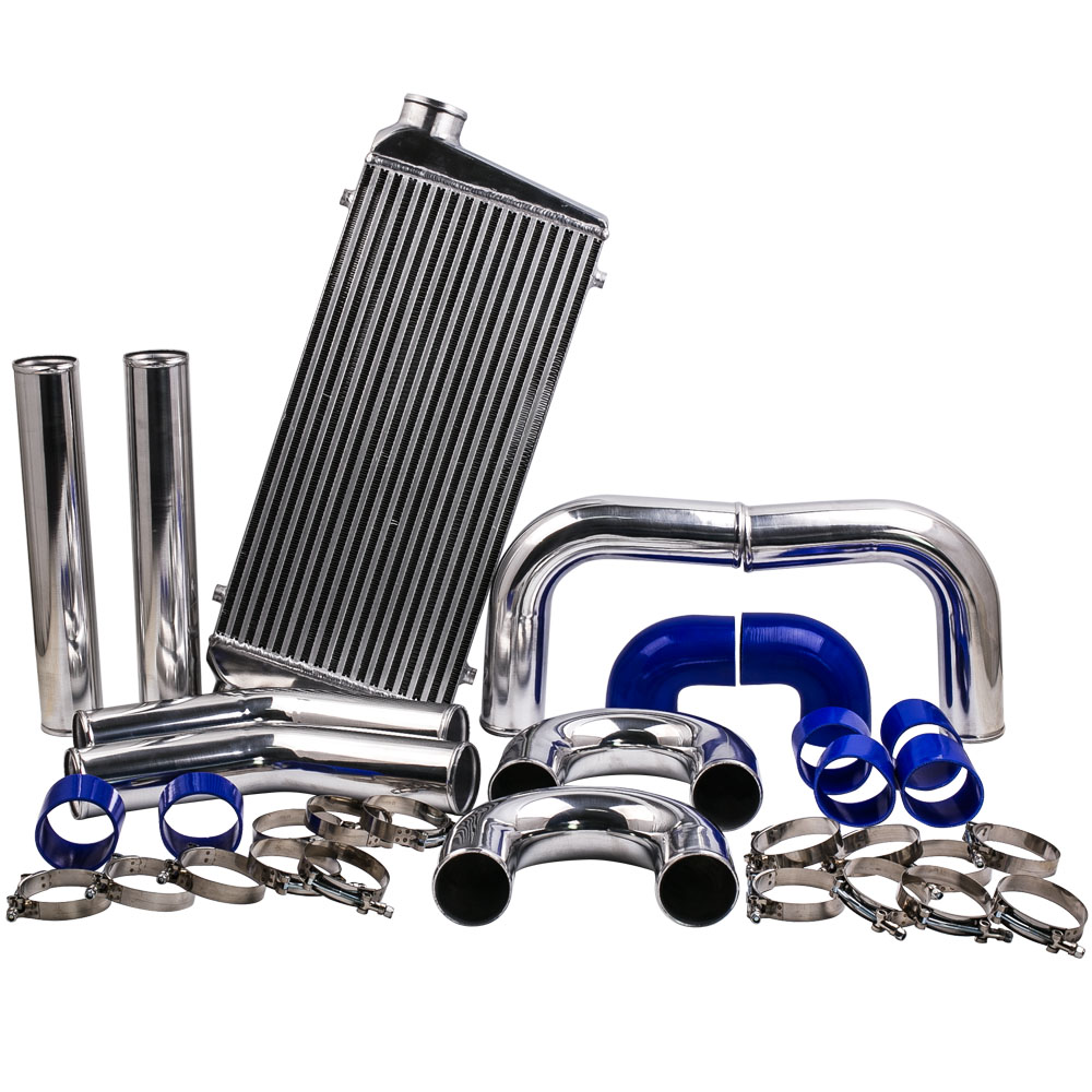 Universal 600x300x76mm intercooler + 76mm 3 aluminium piping & HOSE kits