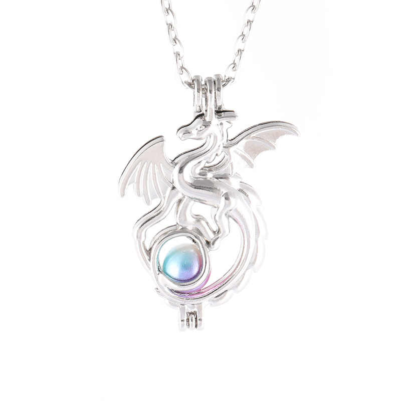 2019 Pearl Cage Aromatherapy Essential Oil Diffuser Necklace Silver Plated Punk Dragon 60cm Long Chain Necklace Christmas Gift