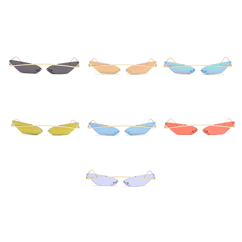 US $8.56 25% OFF|Peekaboo narrow cat eye sunglasses women rimless 2019 men retro sun glasses female vintage cat eye mirror uv400 metal|Women's