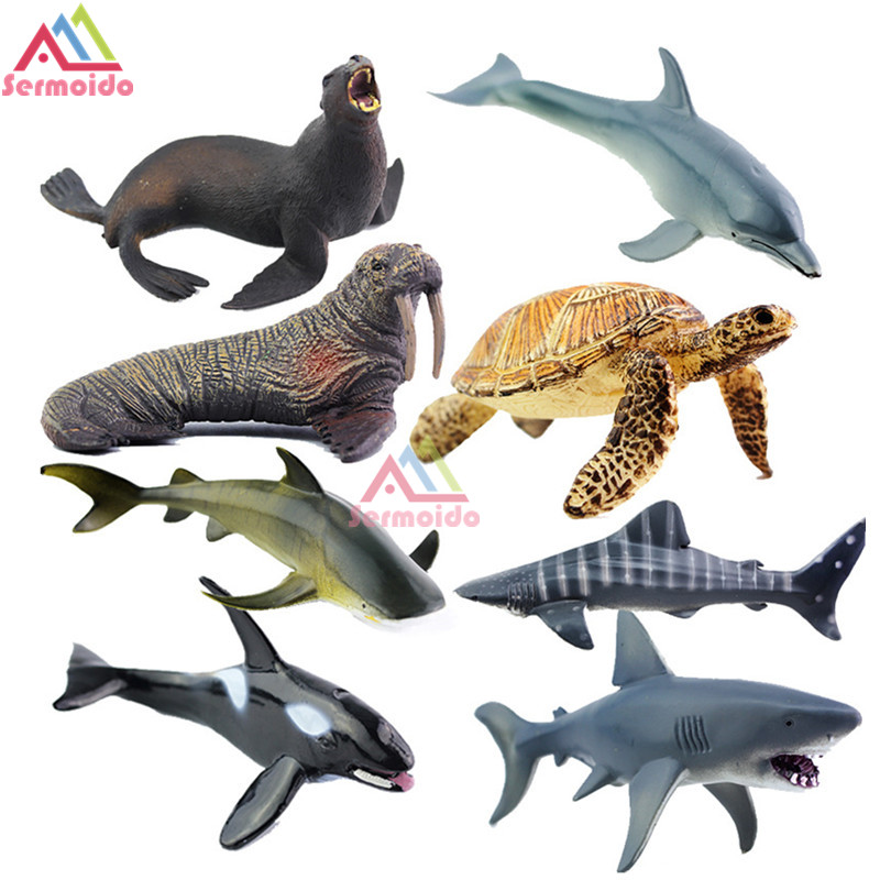 SERMOIDO Sea Life Animals Turtle Toys Set Turtles Figurines Walrus Plastic Shark Fish Model Kids Toy Educational Zoo Figure A154 easyway sea life gray shark great white shark simulation animal model action figures toys educational collection gift for kids