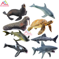 SERMOIDO Vida Marina Animales Tortuga Juguetes Set Figuras de Tortugas Morsa Plástico Shark Fish Modelo Niños de Juguete Educativos Zoológico Figura A154
