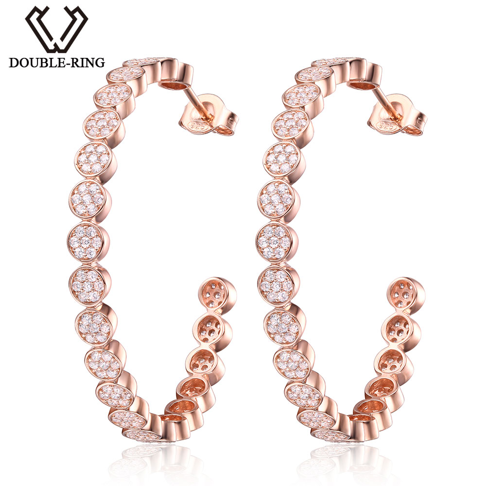 цена на DOUBLE-R Round Natural White Topaz Hoop Earrings 100% Real 925 Sterling Silver Classical Fine Wedding Jewelry Earrings For Women