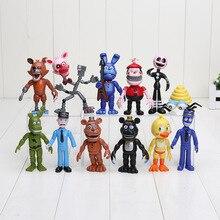12 adet/grup FNAF PVC aksiyon figürleri 10 11.5cm beş Nights freddynin Freddy Fazbear Foxy Bonnie Chica bebekler oyuncaklar brinqudoes