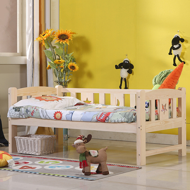 High Quality Solid Wood Children Bed Lengthen Widen Baby Wooden Bed Combine Big Bed Child Kids Baby Crib