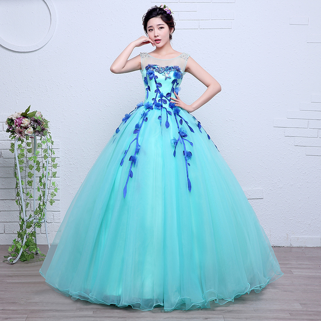 Freeship flower leaf shoulder beading ice blue ball gown medieval dress Renaissance gown queen Victorian Belle Ball gown