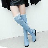 Women's Gorgeous Blue Denim Over The Knee Boots Flat Heel Thigh Boots Zipper Autumn Winter Woman Shoes 2018 Size 34 43