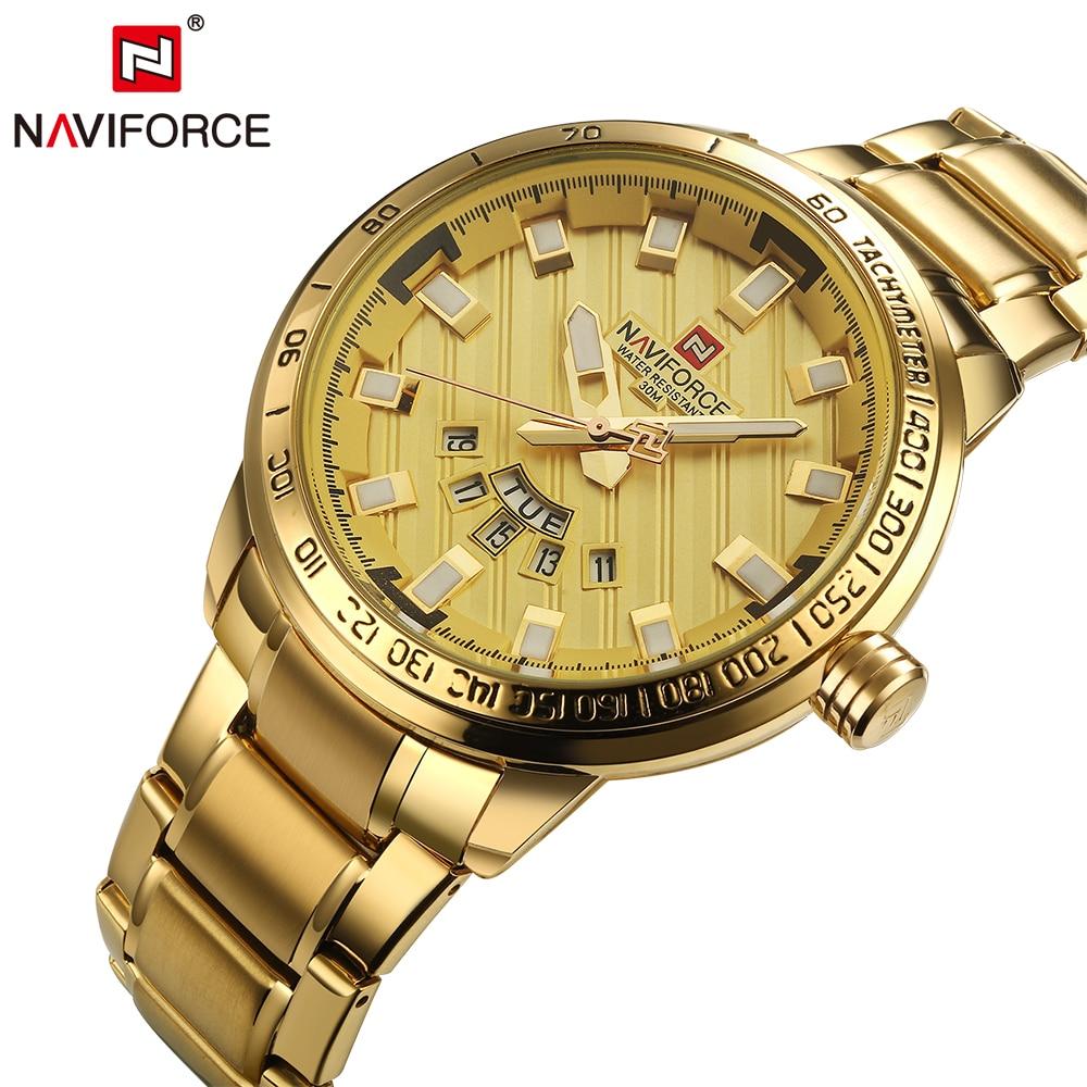 2017 Naviforce Luxus Marke Sport Uhren Männer Stahl Quarzuhr Mann Wasserdichte Uhr Männer Armbanduhren Relogio Masculino