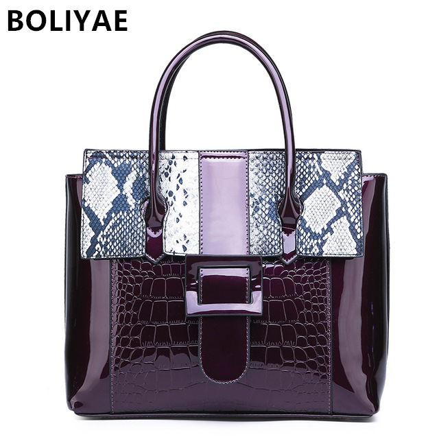 BOLIYAE Women fashion Serpentine Pattern Handbag Patent Leather Large Shoulder Bag Female Hobos Bag Handbag Messenger BagsBOLIYAE Women fashion Serpentine Pattern Handbag Patent Leather Large Shoulder Bag Female Hobos Bag Handbag Messenger Bags