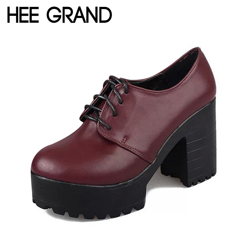 HEE GRAND British Style Women Boots High Heels Lace-Up Platform Ankle Boots Autumn Sexy Ladies Shoes Woman 2 Colors XWD2417 kibbu lace up high heels women punk style ankle boots thick bottom platform shoes european motorcycle leather boots 6 colors