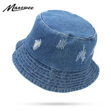 4cee9c22bae Summer Washed Denim Sun Hat Women Floppy Cap Ladies Beach Bucket Hats  Cotton foldable Fishing Fisherman