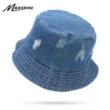 16c017a231005 Summer Washed Denim Sun Hat Women Floppy Cap Ladies Beach Bucket Hats  Cotton foldable Fishing Fisherman Hats Travel Japanese