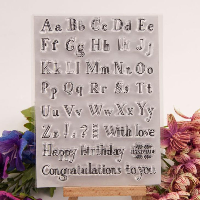 1 Pcs Cartoon Alphabet Letters Birthday Transparent Clear Silicone Stamps For Seal DIY Scrapbooking Photo Album Clear Stamps
