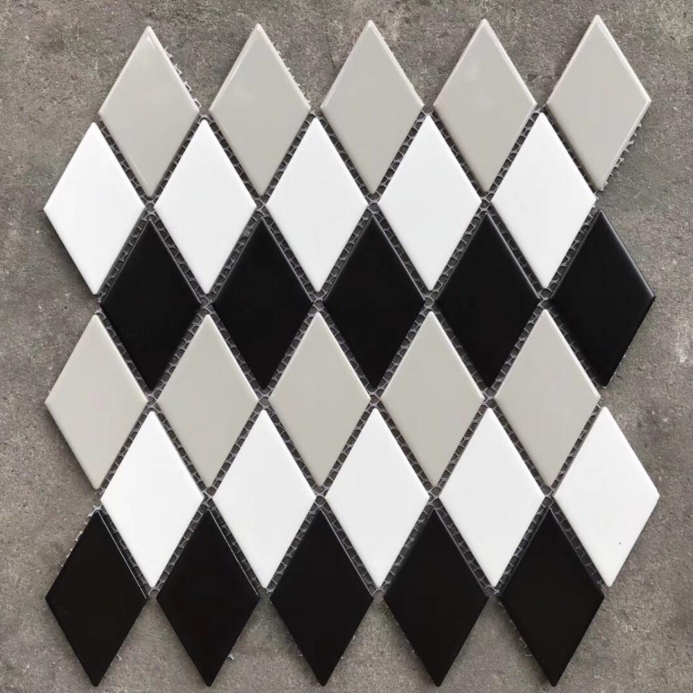 New! 3D Black White Grey Glossy Diamond Shaped Ceramic Mosaic ...