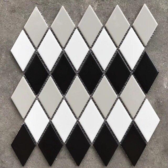 New D Black White Grey Glossy Diamond Shaped Ceramic Mosaic - Diamond shaped tile flooring