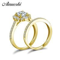 AINUOSHI 14K Solid Yellow Gold Bridal Ring Set 1ct Brilliant SONA Diamond Ring Set Charming Engagement Wedding Rings in 14K Gold