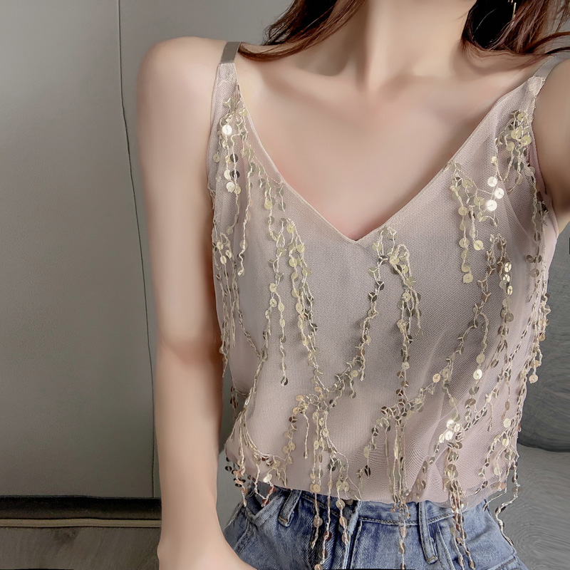 Fashion Women Sparkling Sequined Sling Top Vest <font><b>haut</b></font> femme <font><b>Sexy</b></font> Slim Sleeveless V Neck Camis Tops Women Summer Casual Camisole image