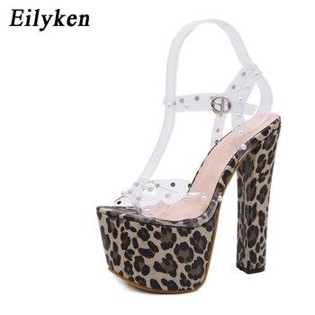 7f14b41d7f7 Eilyken 2019 nueva hebilla correa de leopardo Mujer Sandalias de fiesta  discoteca etapa Tacón cuadrado 17 cm zapatos de verano sandalias de Mujer  Zapatos