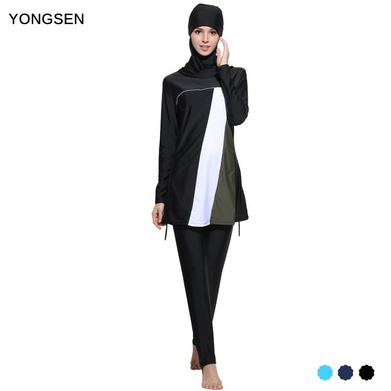 все цены на YONGSEN Plus Size Muslim Swimwear Women Islamic Swimsuit Long Sleeves Conservative Burkinis Bathing Modest Detachable Hijab