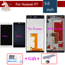 Original For Huawei P7 LCD Display+Touch Screen Digitizer Glass Panel Replacement For Huawei Ascend P7 LCD With Frame new original black touch screen digitizer glass sensor lcd display panel screen for huawei ascend g7 5 0 assembly replacements
