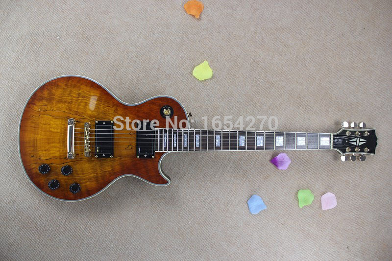 Free shipping New LP G Custom shop sunset nature wood color EMG pickups electric guitar in stock !!    150604  high quality electric guitar custom emg 81 85 actieve pickups real photos free shipping