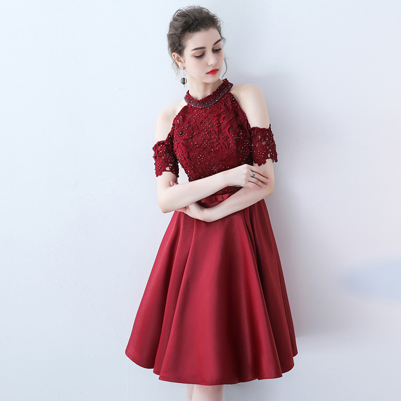 New Celebrity Dresses vestido de festa 18 Halter New Vintage Half Sleeve Lace Pearls Red Carpet Dresses Sereia Dress Elegent