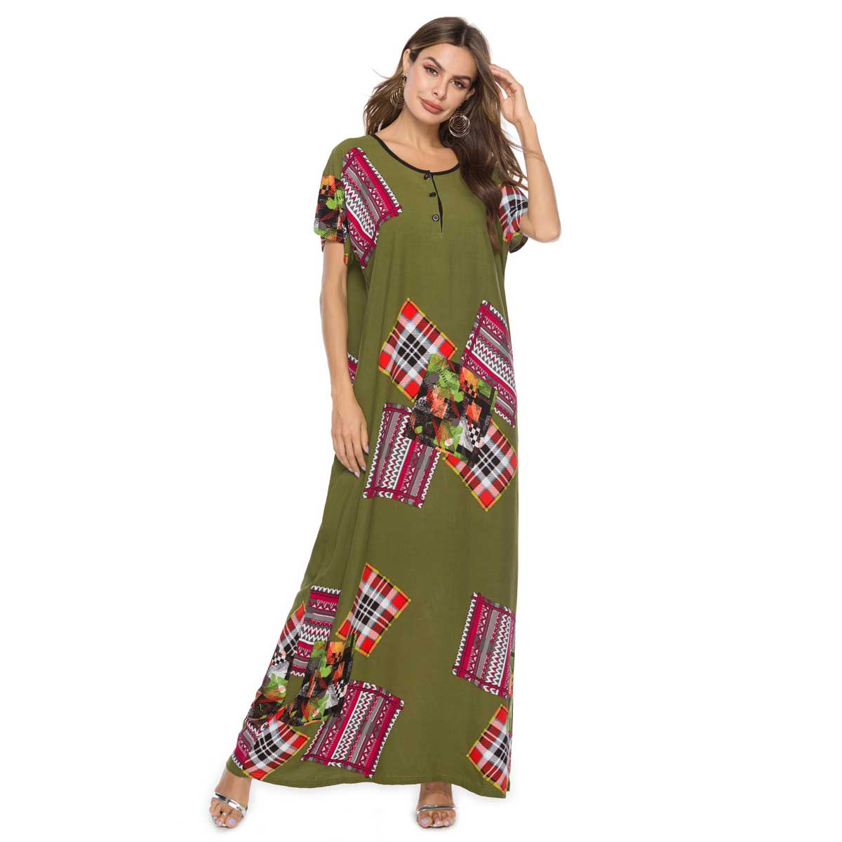 Esast Men Ethnic Robes Loose Striped Short Sleeve Thin Vintage Dress Kaftan