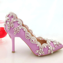 2015 Glamorous Popular Purple Wedding Shoes Bridal Party High Heels with Rhinestone Pointed Toe Three Inch Party Prom Heels
