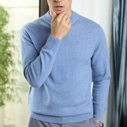Alta calidad 100% pura Cachemira punto jerseys hombre 9 colores Oneck manga larga suéter hombres pulóver nueva moda ropa masculina tops