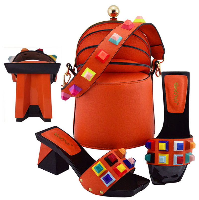 Orange Color African Shoes and Matching Bags Italian Ladies Italian Shoes and Bag Set Decorated with colorful Nigerian ShoesOrange Color African Shoes and Matching Bags Italian Ladies Italian Shoes and Bag Set Decorated with colorful Nigerian Shoes