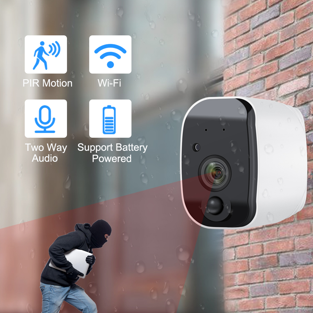 Outdoor 1080P HD WiFi Camera Two Way Audio Support Lithium Battery Wireless IP Camera Waterproof Security