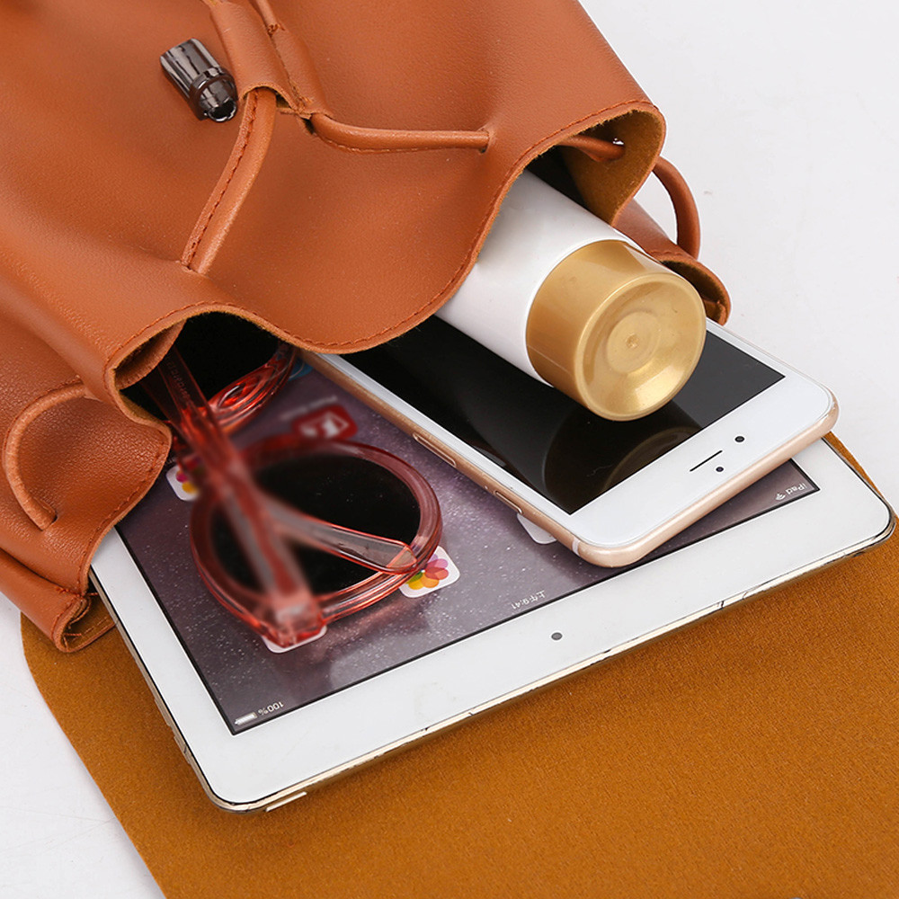 HTB1LYrva8Gw3KVjSZFwq6zQ2FXa3 - Casual Large Capacity Shoulder Bags Vintage Pure Color Leather School Bag Backpack Satchel Women Trave Shoulder Bag