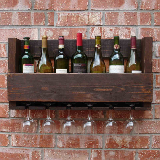 Wine Rack Wood Bar Wall Wine Creative Retro Wood Wine Racks Restaurant  Glove Goblet Pine Wall Rack Storage Shelf Wine Rack X89